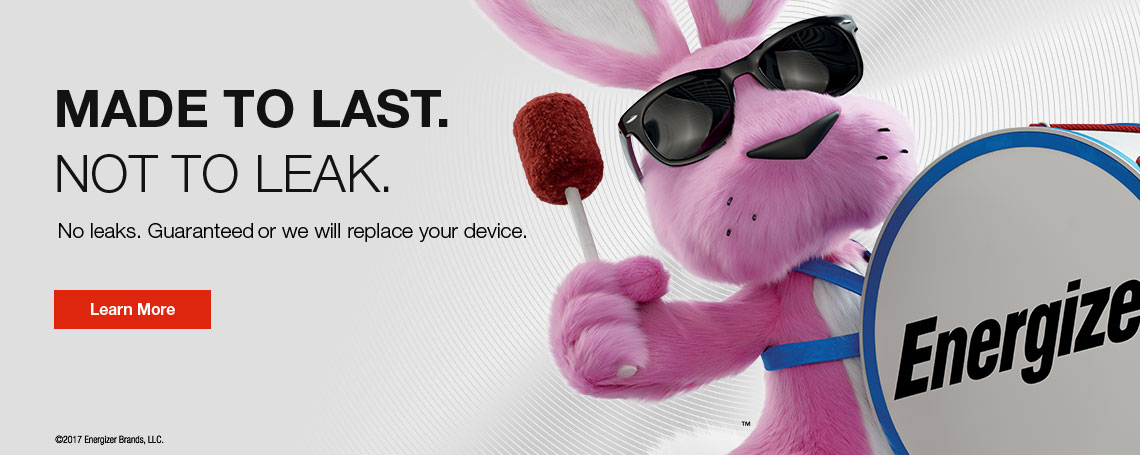 energizer pink bunny playing drums in a banner with text about leak-free battery