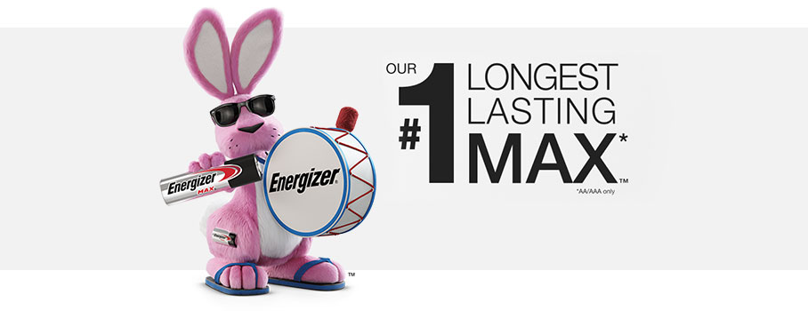 energizer pink bunny holding battery and drums in a banner with text about long lasting battery