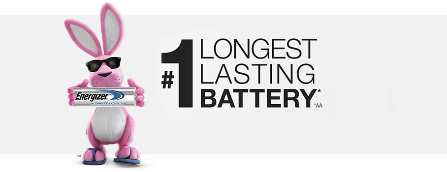 energizer pink bunny holding battery in a banner about longest lasting battery guiness records