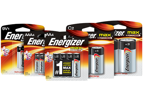 five packages of energizer max batteries 9v, aaa, aa, c and d