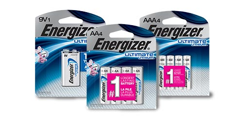 three packages of energizer ultimate lithium batteries 9v, aa and aaa