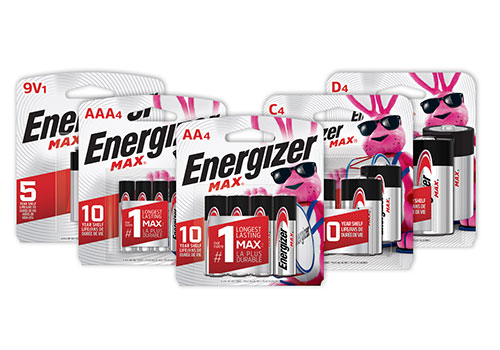five new packages of Energizer Max Batteries 9v, aaa, aa, c and d