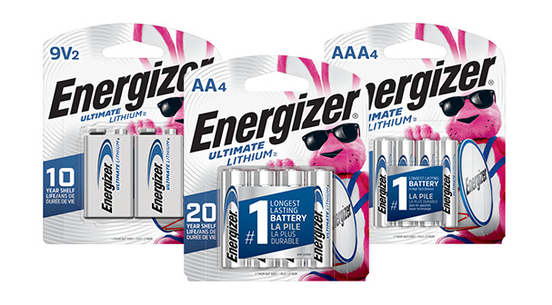 three new packages of energizer ultimate lithium batteries 9v, aa and aaa