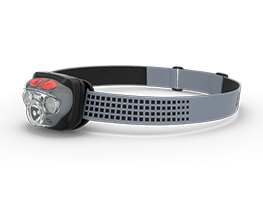 gray energizer headlamp with red buttons