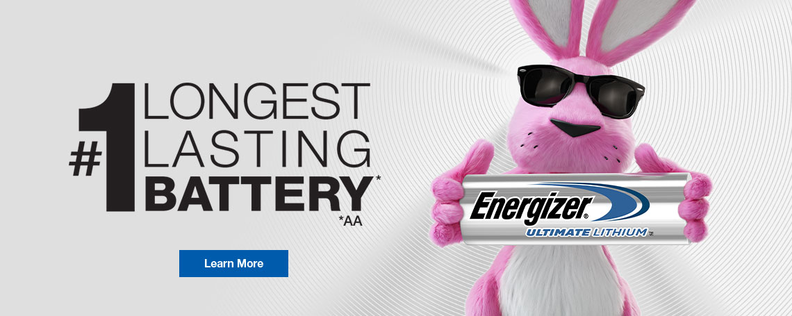 energizer pink bunny holding battery in a banner about longest lasting battery