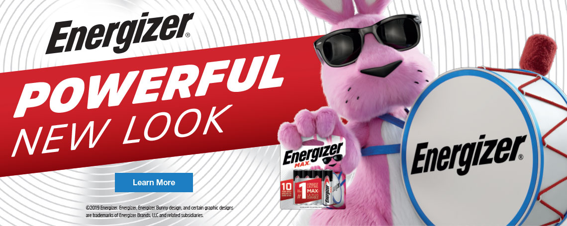 energizer bunny holding the new package of energizer batteries in a banner about the new look packages