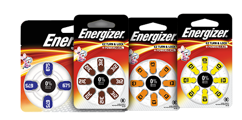 four packages of energizer hearing aid batteries 675,312, 12 and 10