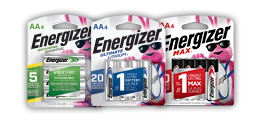 three packages of energizer aa batteries