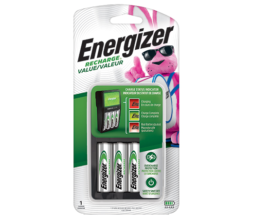 package of energizer recharge value battery charger