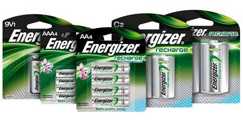 five packages of energizer rechargeable batteries 9v, aaa, aa, c and d