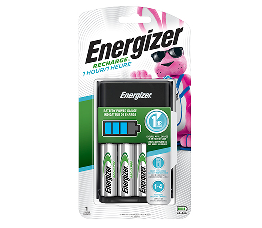 package of energizer recharge 1 hour battery charger