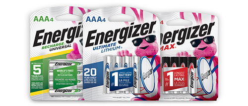 three packages of energizer aaa batteries