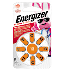 new package of energizer hearing aid size 13 with eight