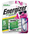 package with four energizer recharge universal aaa batteries