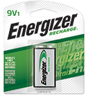 package with one energizer recharge 9v battery