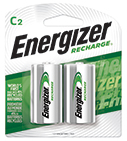 package with two energizer recharge c batteries
