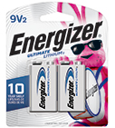 package with 2 energizer ultimate lithium 9v batteries