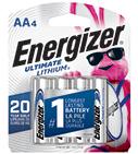 package with 4 energizer ultimate lithium aa batteries
