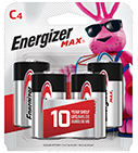 package with four energizer max c batteries