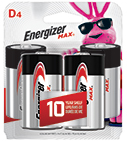 package with four energizer max d batteries