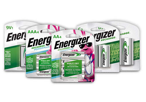 five new packages of energizer rechargeable batteries 9v, aaa, aa, c and d