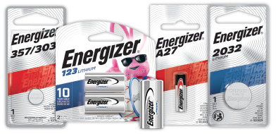four packages of energizer specialty batteries 357/303, 123, a27 and 2032