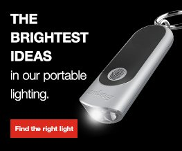energizer portable lighting in a banner with find the right light button