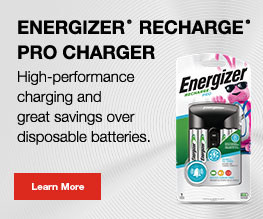 package of energizer rechargeable batteries in a banner with learn more button