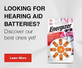 package of energizer hearing aid size 13 battery in a banner with text and learn more button