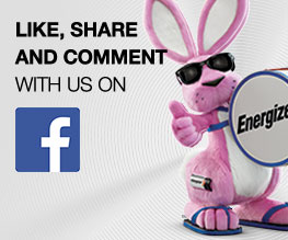 energizer pink bunny with thumb up in a banner with facebook icon