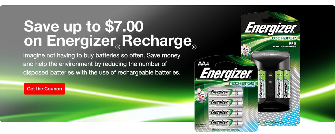 Save up to $7 on Energizer Recharge