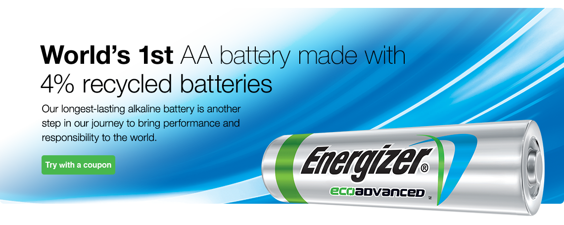 Energizer presents our NEW EcoAdvanced Battery. Our longest lasting AA alkaline battery and it