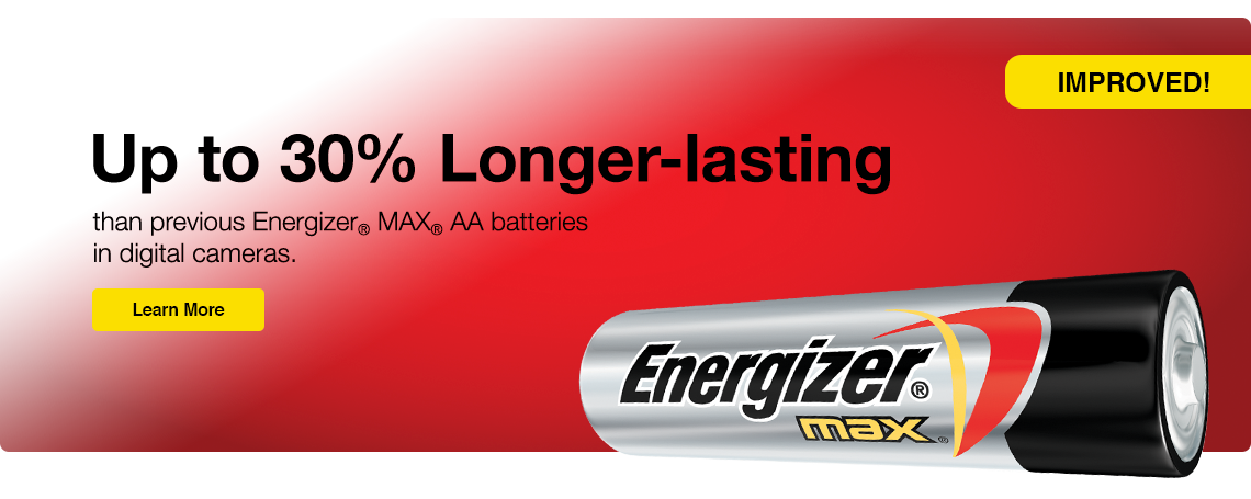 Longer Lasting Energizer Alkaline Batteries