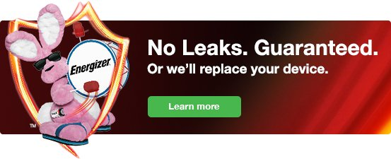 Energizer No Leaks Guarantee